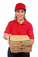 fat italian woman - A pizza delivery woman holding three boxes. Isolated on white Stock Photo - Royalty-Freenull, Code: 400-03987975