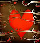 grunge design for valentine day, abstract composition with red hearts and foliage Stock Photo - Royalty-Free, Artist: dip, Code: 400-03987983