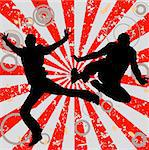 jumping men on grunge abstract background with circles Stock Photo - Royalty-Free, Artist: dip, Code: 400-03988041