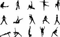 sweaty woman - workout silhouettes Stock Photo - Royalty-Freenull, Code: 400-03990651
