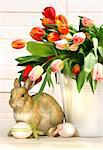Little rabbit behind white container full of tulips Stock Photo - Royalty-Free, Artist: Sandralise, Code: 400-03993697
