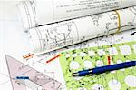 Isometric Drawings blueprint templates pen and rolls of engineering plans Stock Photo - Royalty-Free, Artist: fiftycents, Code: 400-04001273