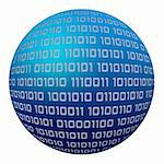 Digital blue globe with binaries isolated on white