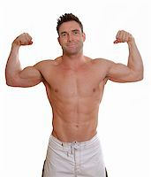 shirless man with big muscles flexing biceps Stock Photo - Royalty-Freenull, Code: 400-04004704