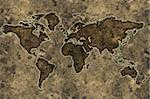 World map on an ancient grunge parchment sheet background Stock Photo - Royalty-Free, Artist: myper, Code: 400-04005962