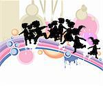 kids silhouettes running and jumping Stock Photo - Royalty-Free, Artist: dip, Code: 400-04007715