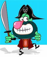 Illustration of fantasy of a pirate with sword Stock Photo - Royalty-Freenull, Code: 400-04007934