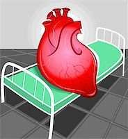 Illustration of heart in hospital bed Stock Photo - Royalty-Freenull, Code: 400-04008694