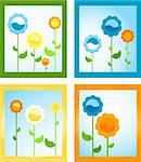framed spring flowers; floral background Stock Photo - Royalty-Free, Artist: dip, Code: 400-04017439