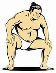 Illustration on the Japanese sport of sumo wrestling Stock Photo - Royalty-Free, Artist: patrimonio, Code: 400-04017490