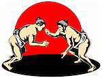 Illustration on the Japanese sport of sumo wrestling Stock Photo - Royalty-Free, Artist: patrimonio, Code: 400-04017492