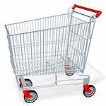 empty shopping cart of supermarket or mall Stock Photo - Royalty-Free, Artist: sgame, Code: 400-04018045