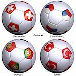 Four soccer-balls with flags of the countries in Group A in the European championship. Hi-res 3D render with clipping path. Stock Photo - Royalty-Free, Artist: Bestmoose, Code: 400-04020601