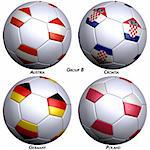 Four soccer-balls with flags of the countries in Group B in the European championship. Hi-res 3D render with clipping path. Stock Photo - Royalty-Free, Artist: Bestmoose, Code: 400-04020602