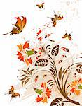 Grunge flower background with butterfly, element for design, vector illustration Stock Photo - Royalty-Free, Artist: TAlex, Code: 400-04020649