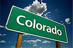 Colorado Road Sign with dramatic clouds and sky. Stock Photo - Royalty-Free, Artist: Feverpitched, Code: 400-04023844