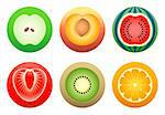 Apple, peach, orange, kiwi, strawberry and watermelon in color-reach symbols Stock Photo - Royalty-Free, Artist: sahua, Code: 400-04026187