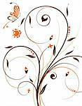 Flower background with butterfly, element for design, vector illustration Stock Photo - Royalty-Free, Artist: TAlex, Code: 400-04026865