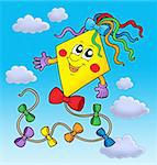 Cute kite on blue sky - color illustration.