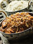 Dish of Dopiaza Veal with side dish of Fragrant Pilau Rice Stock Photo - Royalty-Free, Artist: MonkeyBusinessImages, Code: 400-04031345