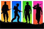 Four soldiers on varicoloured back background. Stock Photo - Royalty-Free, Artist: sagasan, Code: 400-04032501