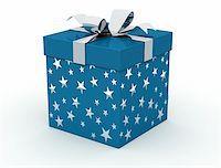 silver box - Blue christmas box on white background - digital artwork Stock Photo - Royalty-Freenull, Code: 400-04032621