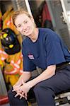 Portrait of a firefighter in the fire station locker room Stock Photo - Royalty-Free, Artist: MonkeyBusinessImages, Code: 400-04036445