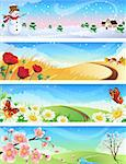 Vector illustration - four seasons landscapes Stock Photo - Royalty-Free, Artist: Jut, Code: 400-04037200