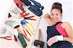 woman carpenter with work tools on wooden plank Stock Photo - Royalty-Free, Artist: vladacanon, Code: 400-04040963