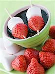 Strawberry and Marshmallow Sticks with Chocolate Sauce Stock Photo - Royalty-Free, Artist: MonkeyBusinessImages, Code: 400-04043209