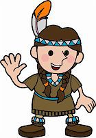 Illustration of young girl in Native American costume and braids waving  Stock Photo - Royalty-Freenull, Code: 400-04044457