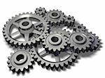 An isolated cogwheels mechanism on white background Stock Photo - Royalty-Free, Artist: broukoid, Code: 400-04045004