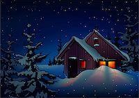 Snowy Christmas 2 - background illustration as vector Stock Photo - Royalty-Freenull, Code: 400-04047017