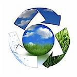 Abstract Recycling Symbol Representing Air, Land and Sea Surrounding Planet Earth Stock Photo - Royalty-Free, Artist: tobkatina, Code: 400-04047073