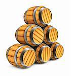 wooden barrels for wine and beer storage isolated on white background Stock Photo - Royalty-Free, Artist: LoopAll, Code: 400-04047311
