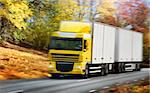 truck driving on country-road/motion Stock Photo - Royalty-Free, Artist: mikdam, Code: 400-04048831