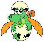 Cute dragon in egg - vector illustration. Stock Photo - Royalty-Free, Artist: clairev, Code: 400-04052104