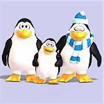 cute penguin family with father mother child and Clipping Path Stock Photo - Royalty-Free, Artist: 3DClipArtsDe, Code: 400-04052735