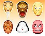 Traditional japanese theater masks - okina, kazuchi, shityome, korobase, otafuku, buaku. Stock Photo - Royalty-Free, Artist: sahua, Code: 400-04053367