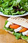 Lettuce, tomato and mozzarella in a fresh panini Stock Photo - Royalty-Free, Artist: Raphotography, Code: 400-04054040