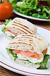 Lettuce, tomato and mozzarella in a fresh panini Stock Photo - Royalty-Free, Artist: Raphotography, Code: 400-04054041
