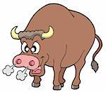 Angry bull on white background - vector illustration. Stock Photo - Royalty-Free, Artist: clairev, Code: 400-04054109