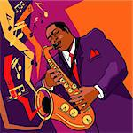 Original vector illustration of a saxophonist on stage Stock Photo - Royalty-Free, Artist: taolmor, Code: 400-04054625