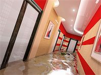 flooded homes - the flooding corridor interior (3D image) Stock Photo - Royalty-Freenull, Code: 400-04057626