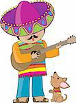 A Mexican man playing guitar and serenading his little chihuahua