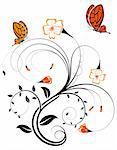 Flower background with butterfly, element for design, vector illustration Stock Photo - Royalty-Free, Artist: TAlex, Code: 400-04060148