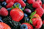 Background of assorted fresh berries close up Stock Photo - Royalty-Free, Artist: Elenathewise, Code: 400-04061287