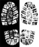 detailed black and white bootprint - vector illustration Stock Photo - Royalty-Freenull, Code: 400-04062074