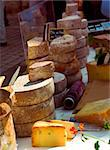Assorted cheeses for sale on french farmers market in Perigueux, France Stock Photo - Royalty-Free, Artist: Elenathewise, Code: 400-04063376