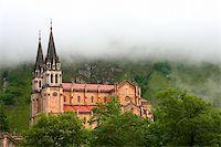 Fog at the shrine of Covadonga, Asturias (Spain) Stock Photo - Royalty-Freenull, Code: 400-04064801